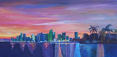 Miami Skyline Paintings Original Artwork