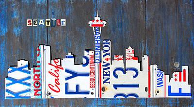 Seattle Skyline Mixed Media