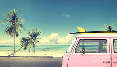 Designs Similar to Vintage Car In The Beach With A