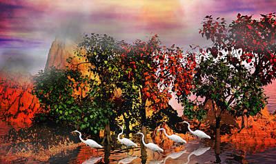 Great White Egret Digital Art