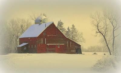 Red Barn In Winter Art Prints