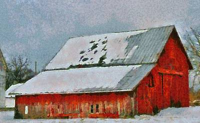 Red Barn In Winter Mixed Media