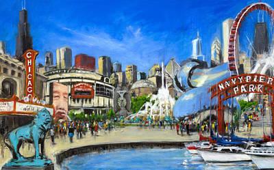 Chicago Skyline Paintings Original Artwork