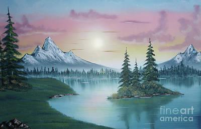 Mountain Lake A La Bob Ross Paintings