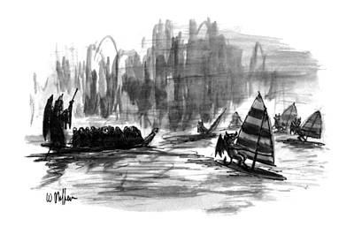 Boat Along The River Art Prints