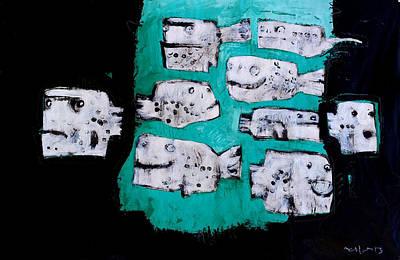 Acrylic Fish Mixed Media Original Artwork