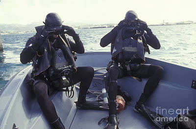 e395d9b089e Closed Circuit Rebreather Wall Art - Photograph - Navy Seals Combat Swimmers  In A Utility by