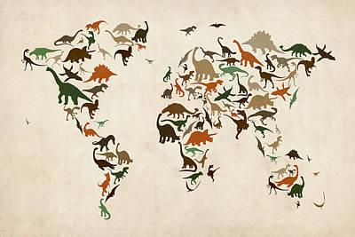 Dinosaur Map Posters