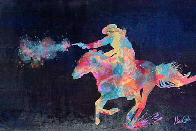 Cowboy Riding Horse Art