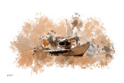 Boats In Water Digital Art Prints