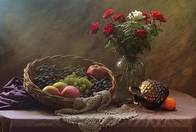 Designs Similar to Still Life With Fruit And Roses