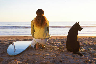 Designs Similar to Surfer Woman And Dog On Beach