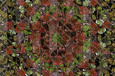 Chaos Abstract Digital Red Rose Roses Black Hole Mosaic Texture Paintings