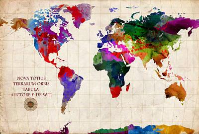 Watercolor Map Mixed Media