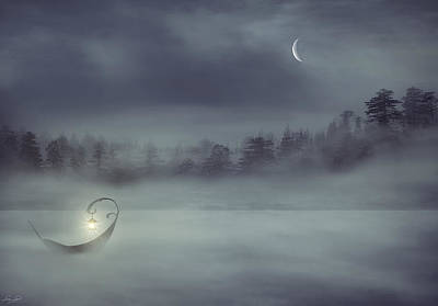 Rowboat In Fog Digital Art