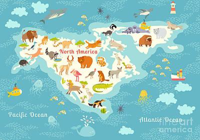 Designs Similar to Animals World Map, North