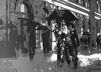 People Walking In The Rain Digital Art Prints