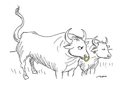 Gold Earrings Drawings Prints