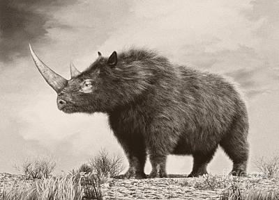 One Horned Rhino Digital Art