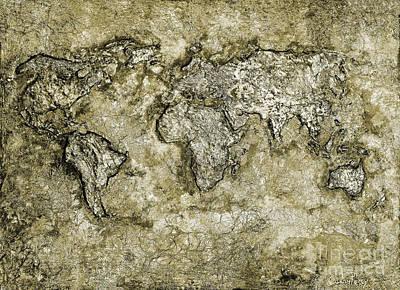 World Map Poster Mixed Media Original Artwork