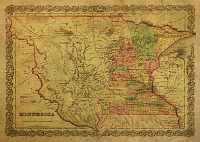 Designs Similar to Vintage Map Of Minnesota 1850