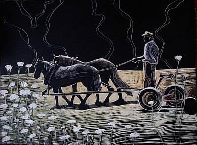 Team Or Horses Drawings Prints