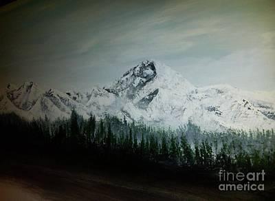 Mountain Range With Evergreens Art