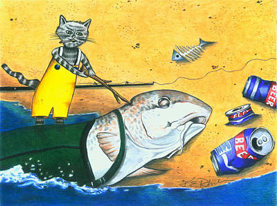Surf Fishing Drawings Original Artwork