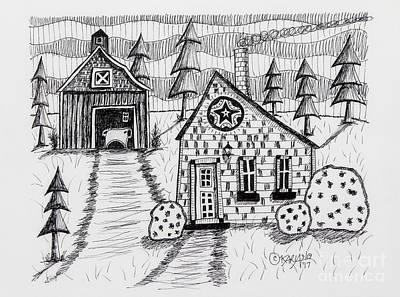 Barn Pen And Ink Original Artwork