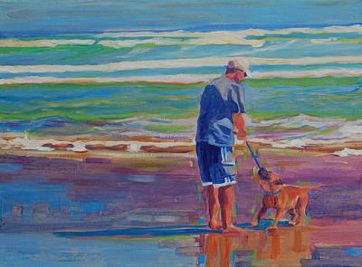 Dad And Dog At Beach Prints