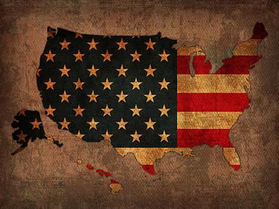 America Map Mixed Media