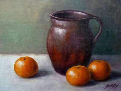 Still Life With Old Pottery Pitcher And Tangerines Prints