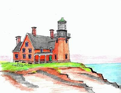 New England Lighthouse Mixed Media Original Artwork