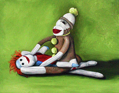 Sock Monkey Paintings Original Artwork