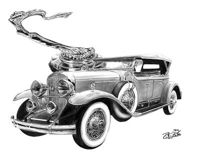 Vintage Automobiles Drawings Original Artwork
