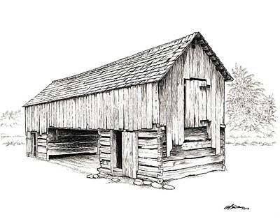 Old Barn Pen And Ink Mixed Media Prints