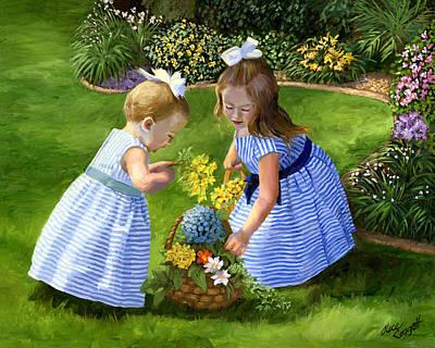 Little Girls In Garden Paintings