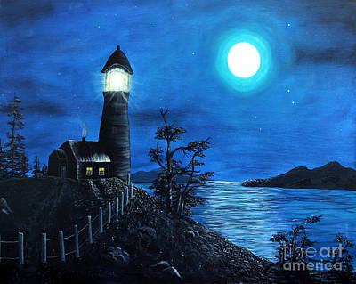 Lighthouse On A Hill Prints
