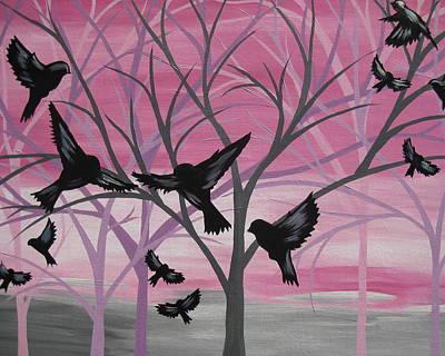 Pink Black Tree Rainbow Paintings
