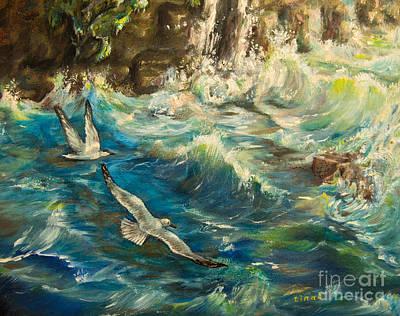 Cliffs Over Ocean Original Artwork