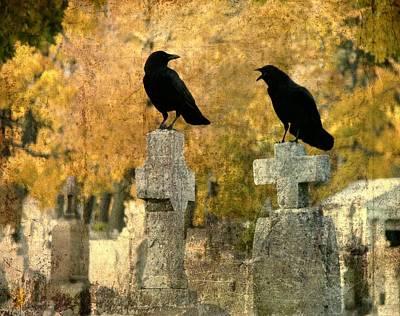 Crows Mingling Art Prints