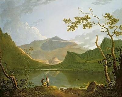 Landscape Mountain Trees Fisherman Art