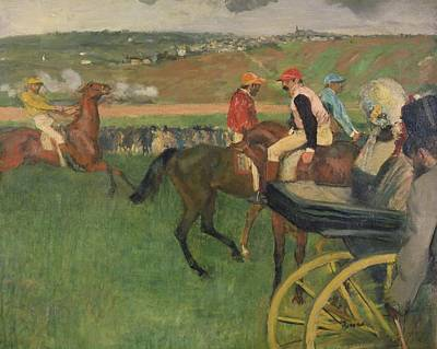 The Race Course - Amateur Jockeys Near A Carriage Paintings