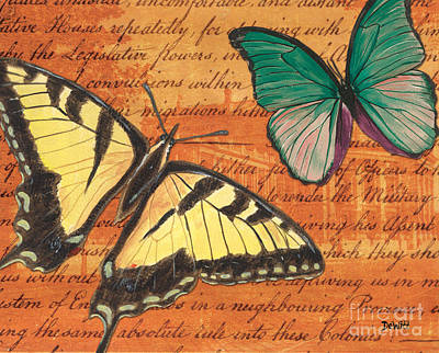 Yellow Butterfly Mixed Media Prints