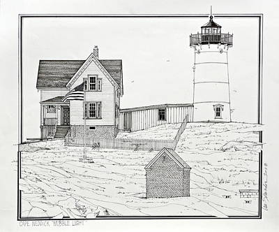 Cape Neddick Lighthouse Drawings Original Artwork
