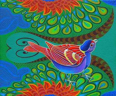 Red Blue And Green Birds Art