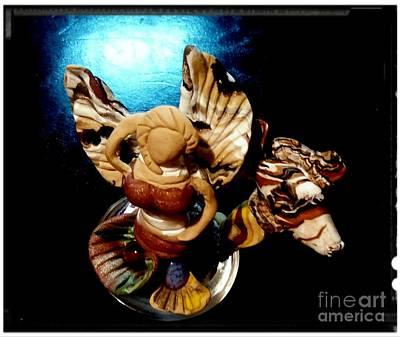 Angel Mermaids Ocean Mixed Media