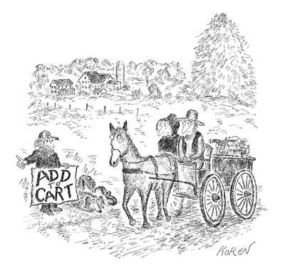 Online Shopping Cart Drawings Prints
