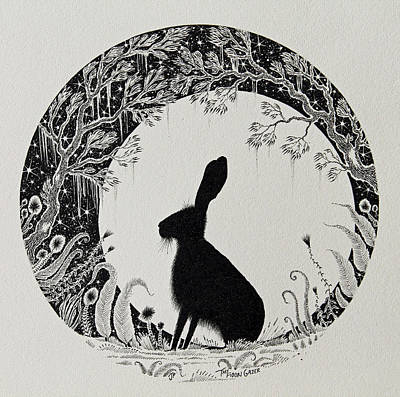 Nature Scene With Moon Drawings Prints