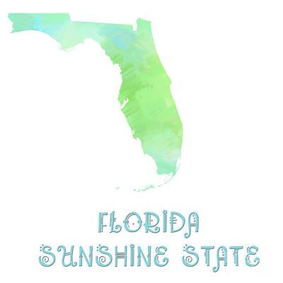 .florida - Sunshine State - Map - State Phrase - Geology Prints